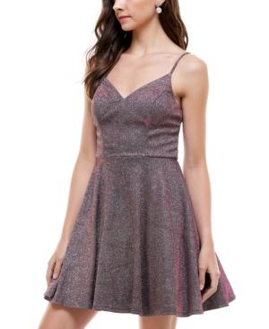 Juniors' Glitter Fit & Flare Dress
