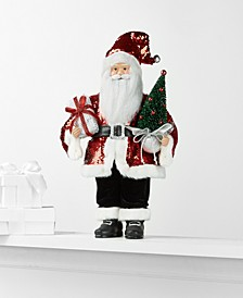 Standing Santa with Sequined Jacket, Tree & Wrapped Gift, Created for Macy's