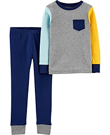 Toddler Boys 2-Piece Colorblock Snug Fit Cotton PJs