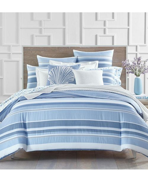 Charter Club Coastal Stripe 300-Thread Count Twin Duvet Set, Created for Macy's