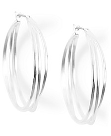 Silver-Tone Medium Twisted Triple-Row Hoop Earrings, 1.62""