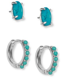 Silver-Tone 2-Pc. Set Semi-Precious Turquoise Studs & Beaded Hoop Earrings