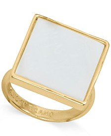 Gold-Tone Mother-of-Pearl Square Statement Ring