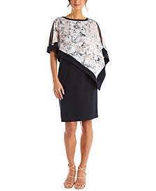 Printed Cold-Shoulder Overlay Dress