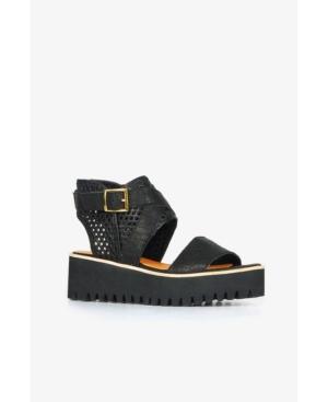 All Black Women s Perf Wrap Flatform Sandal Women s Shoes E5169