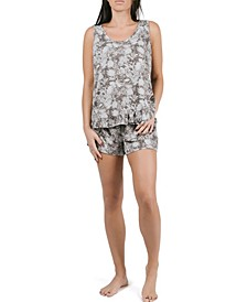 Sleeveless Ruffle Tank and Short Pajama Set