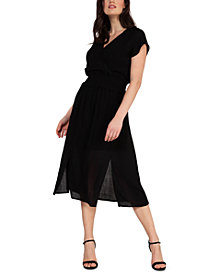 Black Tape Smocked-Waist Solid Midi Dress