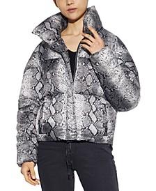 Sabrina Python-Printed Puffer Coat, Created for Macy's