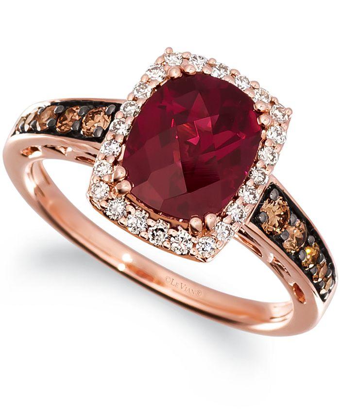 Le Vian - Raspberry Rhodolite (2-1/3 ct. t.w.) & Diamond (3/8 ct. t.w.) Ring in 14k Rose Gold