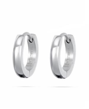 Men's Silver Tone Stainless Steel Petite Huggy Earrings