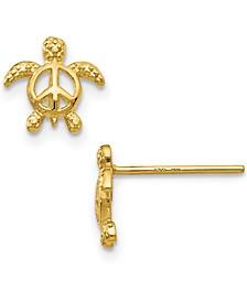 Peace Sign Sea Turtle Stud Earrings in 14k Gold