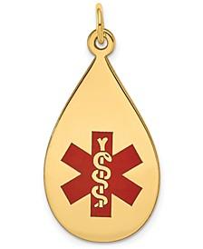 Medical Info Teardrop Charm Pendant in 14k Gold