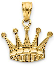 Royal Crown Charm Pendant in 14k Gold