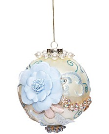 Kings Jewel  Ball Ornament, Ivory 4 Inches