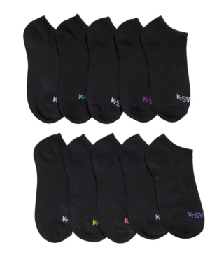 K-swiss Ladies Ankle Low Cut Sports Running Cushioned Athletic Socks, 10 Pack In Black