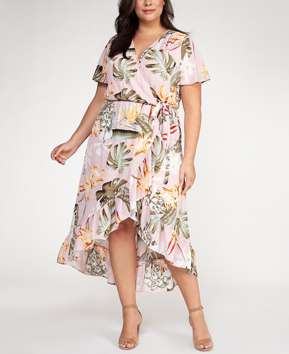 Black Tape Plus Size Floral Print Fit & Flare Dress