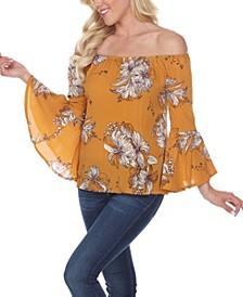 Women's Printed Smocked Neckline Top
