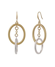 Two Tone Oval Drop Earrings