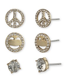 Peace Sign Earring Trio Set