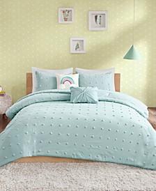 Callie Full/Queen 5 Piece Cotton Jacquard Pom Pom Comforter Set