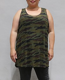 Women's Plus Size Camouflage Mesh Basic Tank Top