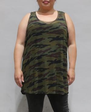 1804 Women's Plus Size Camouflage Mesh Basic Tank Top