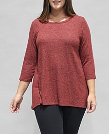 Women's Plus Size 3/4 Sleeve Button Back Top