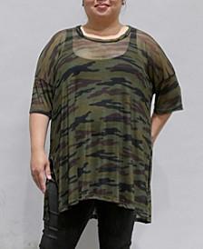 Women's Plus Size Camouflage Mesh Dolman T-Shirt