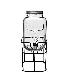 Mini Yorkshire Sun Tea Jar Dispenser on Black Metal Stand, 1 Gal