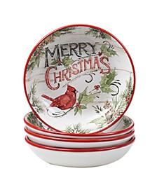 Evergreen Christmas 4 Piece Soup Bowl