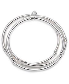 Stretch Silver Bangles, 3 Set