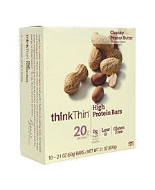 ThinkThin High Protein Bars Chunky Peanut Butter, 2.1 oz, 10 Count