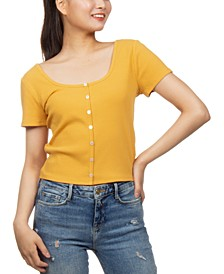 Juniors' Button-Front Crop Top