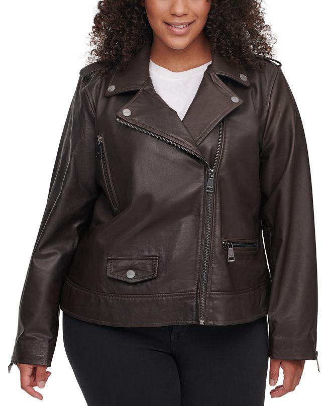 DKNY Plus Size Leather Moto Jacket