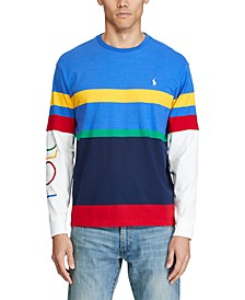 폴로 랄프로렌 Polo Ralph Lauren Mens Colorblocked Stripe Logo Graphic T-Shirt,Rugby Royal Multi