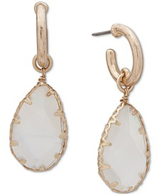 Gold-Tone Mother-Of-Pearl Shaky Charm Hoop Earrings