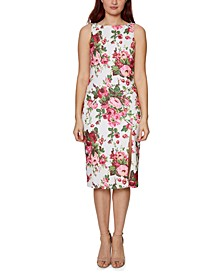 Floral-Print Boat-Neck Sheath Dress