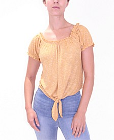 Juniors' Puff-Sleeve Off Shoulder Tie-Front Top