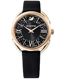 Women's Swiss Crystalline Glam Black Leather Strap Watch 35mm