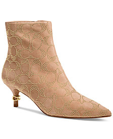 COACH Women's Jewel Kitten-Heel Logo-Studded Booties