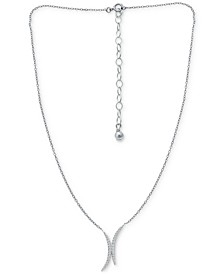 """Cubic Zirconia Double Curve 16"""" Statement Necklace, Created for Macy's"""