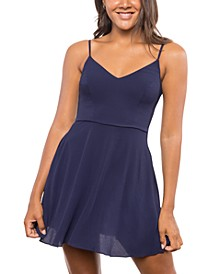 Juniors' V-Neck Skater Dress