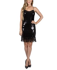 Juniors' Sequin Fringe Dress