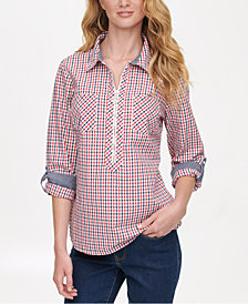 Tommy Hilfiger Check-Print Popover Top