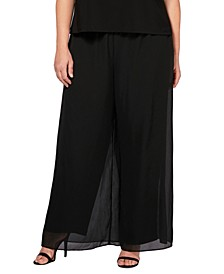 Plus Size Straight-Leg Overlay Pants