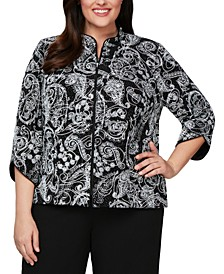Plus Size 3/4-Sleeve Printed Zip-Front Jacket