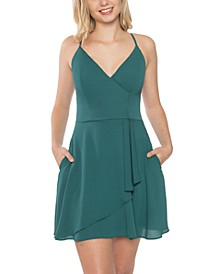 Juniors' Faux-Wrap Racerback Dress