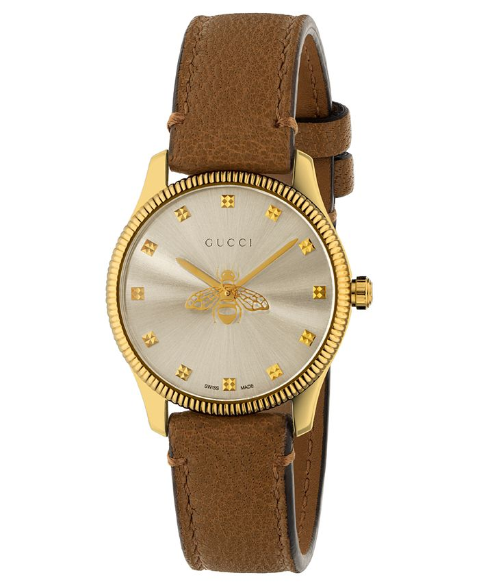 Gucci - Women's Swiss G-Timeless Slim Taupe Leather Strap Watch 29mm