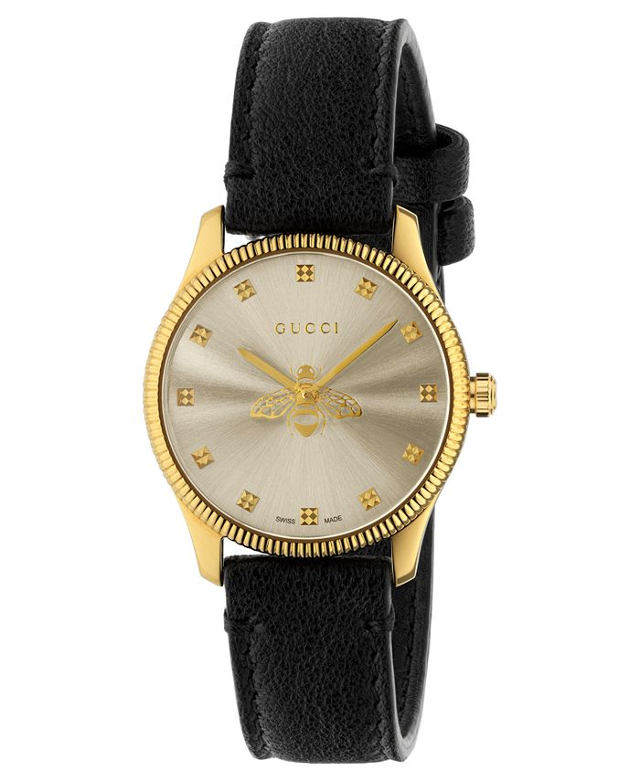 Gucci - Women's Swiss G-Timeless Slim Black Leather Strap Watch 29mm