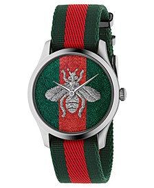 Unisex Swiss G-Timeless Green-Red-Green Nylon Web Strap Watch 38mm